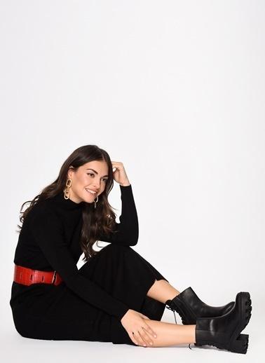 Loves You Yarım Balıkçı Triko Elbise Siyah